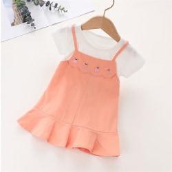 Flickor kortärmad klänning sommar mode prinsessa klänning Orange 120cm