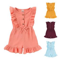 Flickors ärmlösa shorts i ett stycke rufsad enfärgad jumpsuit Pink 18-24 Months
