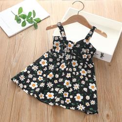 Flicka sommar västra stil blomma hängslen kjol tryck klänning Dark Green 130cm