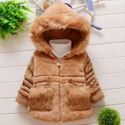 Flickor vinter enfärgad huva jacka casual baby tjock kappa khaki 6