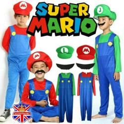 Barn Super Mario kostym fancy dress party kostym hatt set Red-Boys 5-6 Years