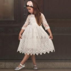 Spets prinsessa klänning _ födelsedagsfest temperament tjej klänning _ S white 140cm