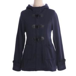 Damkläder med huva klassiskt läderknapp Dark blue M