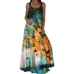 Damer ärmlös avslappnad retrotryckt temperament lång klänning green 5XL