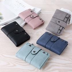 plånbok - Småväska för damer _ vikbart kortslut i läder Light Grey