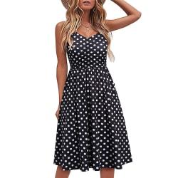 Dam sommarklänning Sexig tryckt Casual ärmlös klänning Black dots L