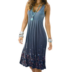 Ladies Vintage Tie-Dye Printed Sleeveless Gradient Long Dress grey L