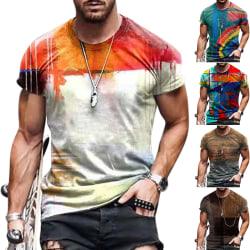 Kortärmad abstrakt herrtröja - sommaravslappnad skjorta - Mäns XL