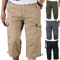 Korta overall för män med flera fickor utomhus sportshorts army green XL