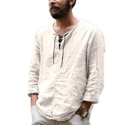 Långärmad T-shirt herr ren färg enkel trend topp Beige XL