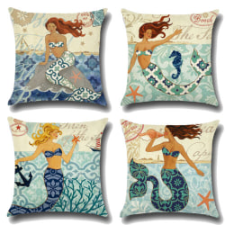 Snail Mermaid Printed Sofa Cushion _  Home Bedroom Decoration _  Mermaid + Seahorse