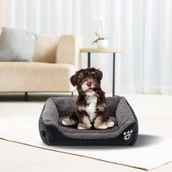 Kvadratisk bomullsbo Fuktprov Varm hund kennel pad husdjur sängar black S
