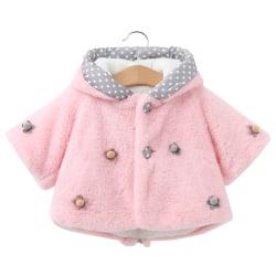 Småbarn vinterjacka Bunny öron hoodie Outwear jacka pink 90cm