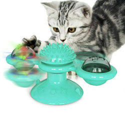 Turn Around Windmill Cat Toy Turntable Funny Cat Toy Pet supplie lake bule