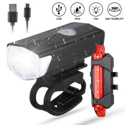 USB uppladdningsbart cykelstrålkastare och LED-lampor för bakljus Red-white 2 * 7.2 * 2 cm
