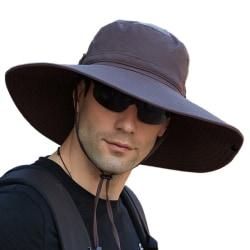 Wide Brim Hats / Outdoor Fisherman Hats / UV Sun Protection Cap Coffee