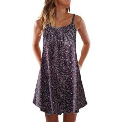 Kvinnas retro blommiga strandklänning för sommartemperatur black M