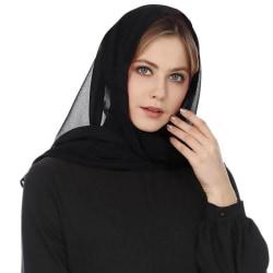 Chiffongduk för kvinnor Hijab Sarong Scarf Sjal Wrap Steal Black One Size