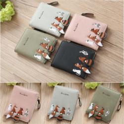 plånbok - Söt djurmönster kort plånbok med blixtlås för kvinnor - plån Dark Green