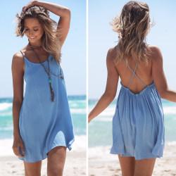 Kvinnors vanliga kort kjol bikini lång topp strand kort kjol XL