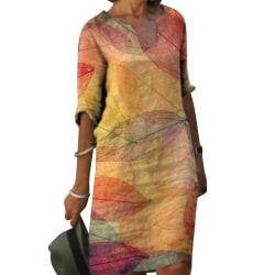Kvinnors plusstorlek tryck djup V klänning avslappnad sommarklänning Yellow 3XL