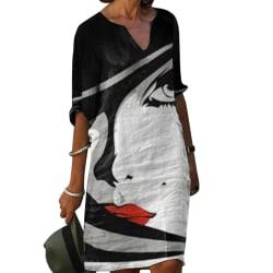 Dam plus size tryckning halv ärm klänning casual sommarklänning Black M