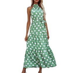 Ärmlös lång klänning för kvinnor med retro smal prickig klänning green XL