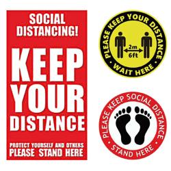 Social Distancing Klistermärken Golvdörrkontor Självhäftande 1pcs