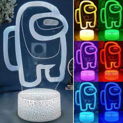 Bland oss nattljus 7-färgs 3D-ledlampor till barn