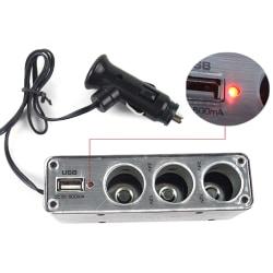 3-vägs biluttag Splitter Laddare Adapter USB