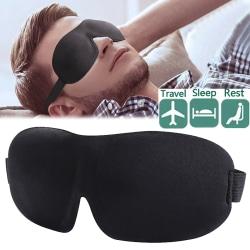 3D-ögonmask / sovmask / behaglig mjuk / resor / svart black