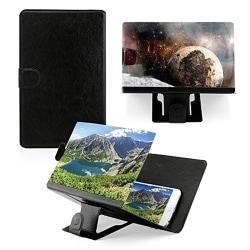 3D HD bärbar mobiltelefon fällbar stativklocka Moive black