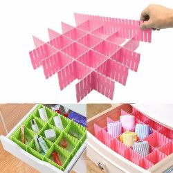 4st DIY Divider Hushållsförvaring Grid Drawer Partition Board Green 4pcs
