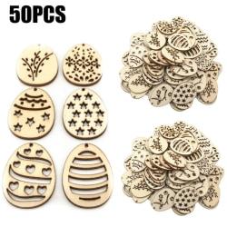 50st påsk naturliga ägg trähängen ornament träd dekor 50pcs