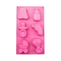 6 Cell kakform mögel Baby fötter och leksaker form choklad