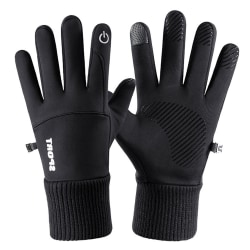 Vindtät vinter varm halkfri cykel pekskärm handskar Black XL