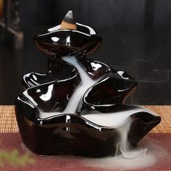 Keramisk bergvattenfall Backflow Incense Burner Holder D