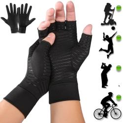 Kopparkompressionsträningshandskar Handstöd Artrit Carpal black A pair L