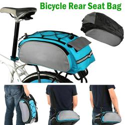 Bicycle Seat Rear Väskas Bike Shoulder Cycling Carrier Portable blue&grey