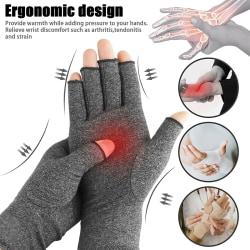 Arthritis Wrist Strap Compression Half-finger Training Gloves grey A pair S