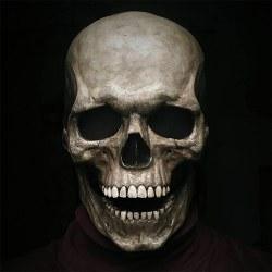 Halloween helhuvudskallsmask med rörlig käke skrämmande huvudbonad dark color