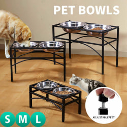 Dual Elevated Raised Pet Dog Cat Bowls Water Stand. L