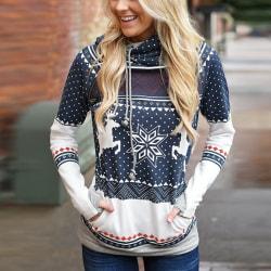 Mode kvinnor Merry Chrismas söt huva tröja deep blue S