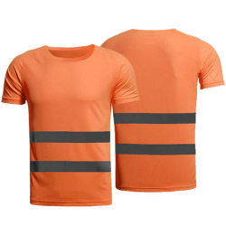 Hej synbarhet Hög män västbälte arbetskläder T-shirt Orange 2XL