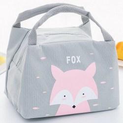 Barn Barn Tecknad Lunch Väska Box Och Dryck Flaska Set Fox