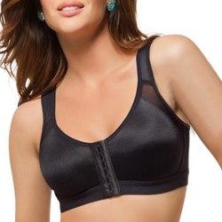 Ladies Button Front Fäste Sports Bra Crop Top Activewear Black M