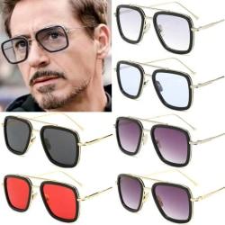 Marvel Avengers Iron Man Square Metal Solglasögon Glasögon Silver Frame Gradient Gray Lenses 1pair