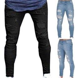 Nya mode män skinny rippade patchwork jeans black 3XL
