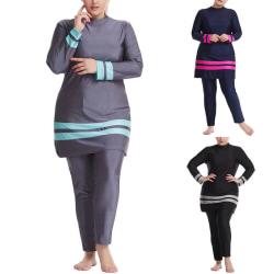 Nya kvinnor långa ärmar badkläder baddräkt Burkini Fashion Modest Black 2XL