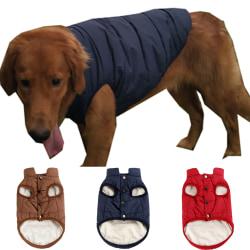 Pet Dog Fahshion Button Down Solid Jacekts Navy-Blue L